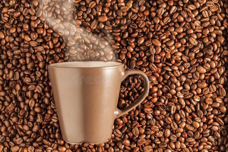 Café quente cozinhando delicioso nos feijões 3 foto de stock royalty free