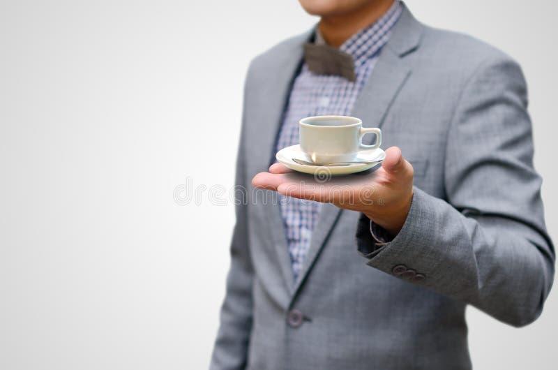 Café quente da bebida do homem de negócios foto de stock