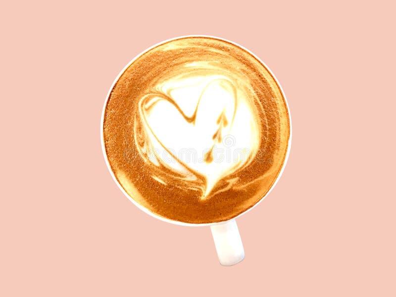 Caf? quente do cappuccino no copo branco isolado no fundo cor-de-rosa velho da cor pastel ilustração do vetor