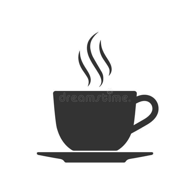 Café quente do copo com ícone gráfico do vapor ilustração royalty free