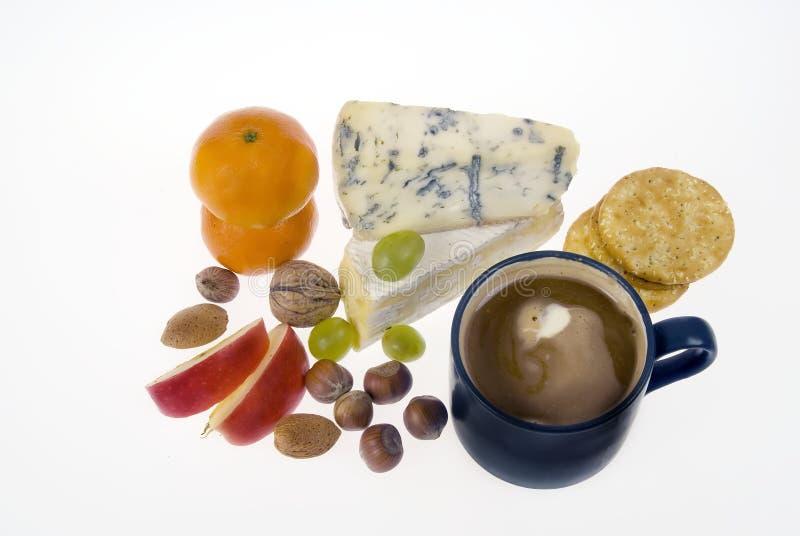 Café, queso, fruta fotografía de archivo libre de regalías