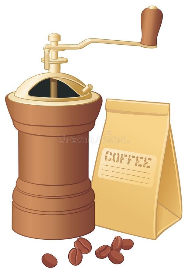 Café-rectifieuse avec des grains de café illustration libre de droits