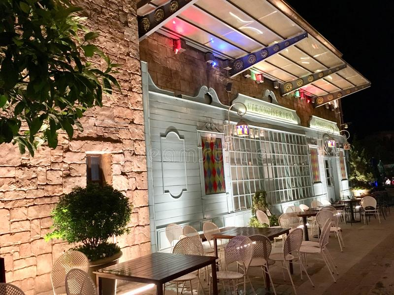 Café and restaurant at Ba Na Hills in Vietnam on night scene stock photography