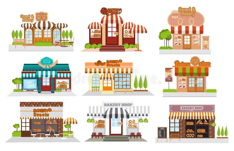 Café, restaurante, loja da padaria, café da pizza, café, vetor liso ilustração stock