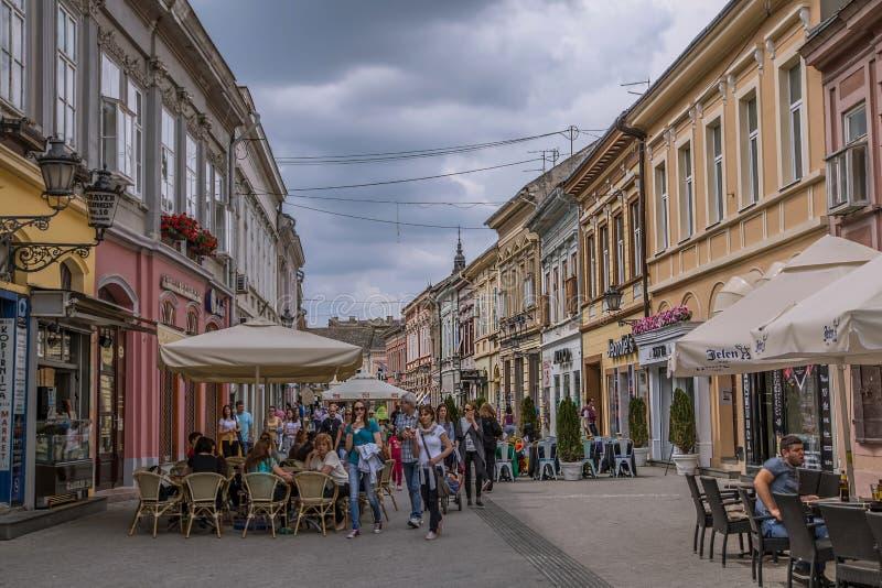 Café-Restaurants in der Straße in Novi Sad lizenzfreie stockfotografie