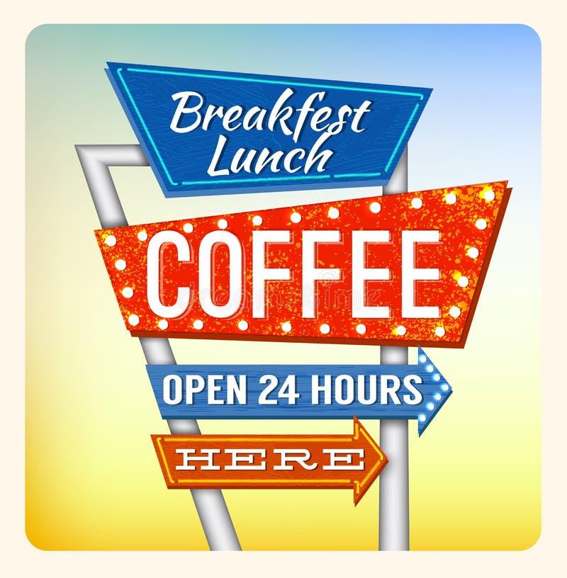 Café retro de Breakfest do sinal de néon ilustração royalty free