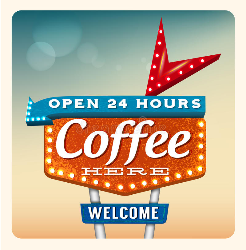 Café retro de la señal de neón ilustración del vector