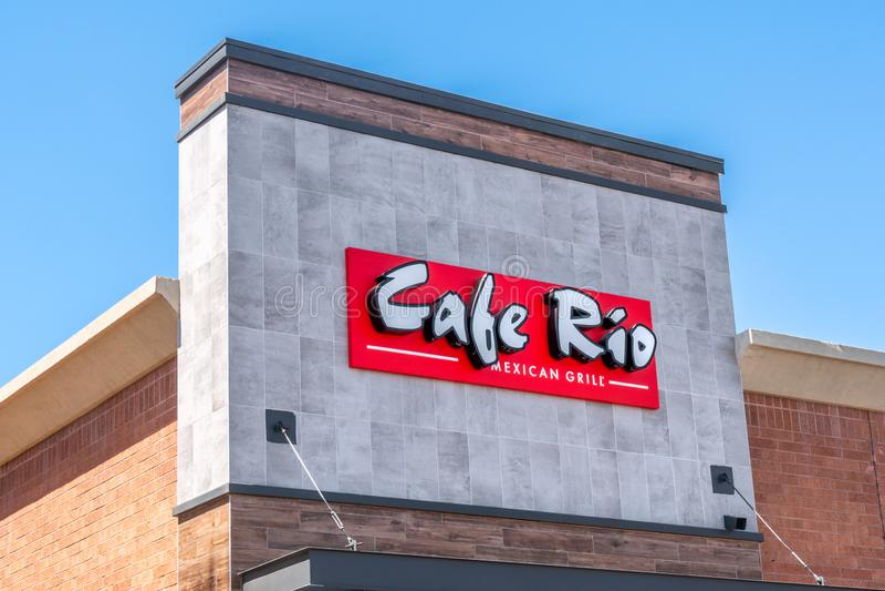 Café Rio Mexican Grill Restaurant et logo de marque déposée photographie stock libre de droits