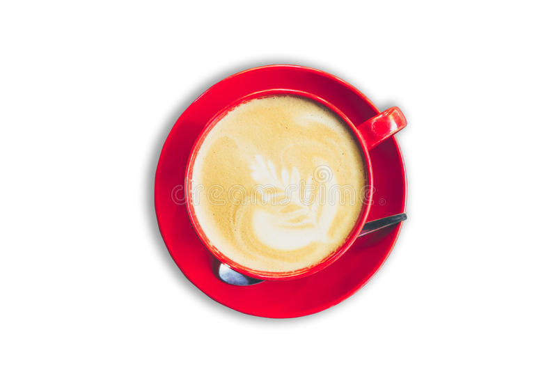 Café rojo de la taza y del latte en fondo blanco aislado fotos de archivo libres de regalías