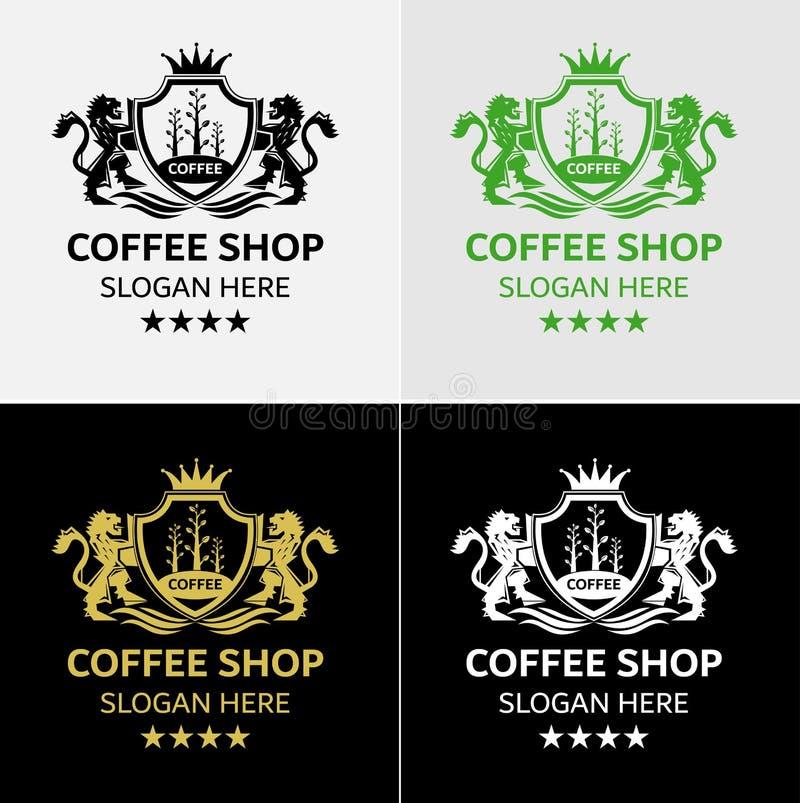 Café royal Logo Template With Lion Crest photos stock