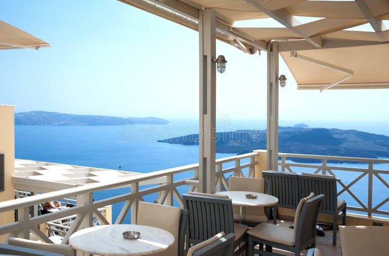 Café in Santorini lizenzfreie stockfotografie
