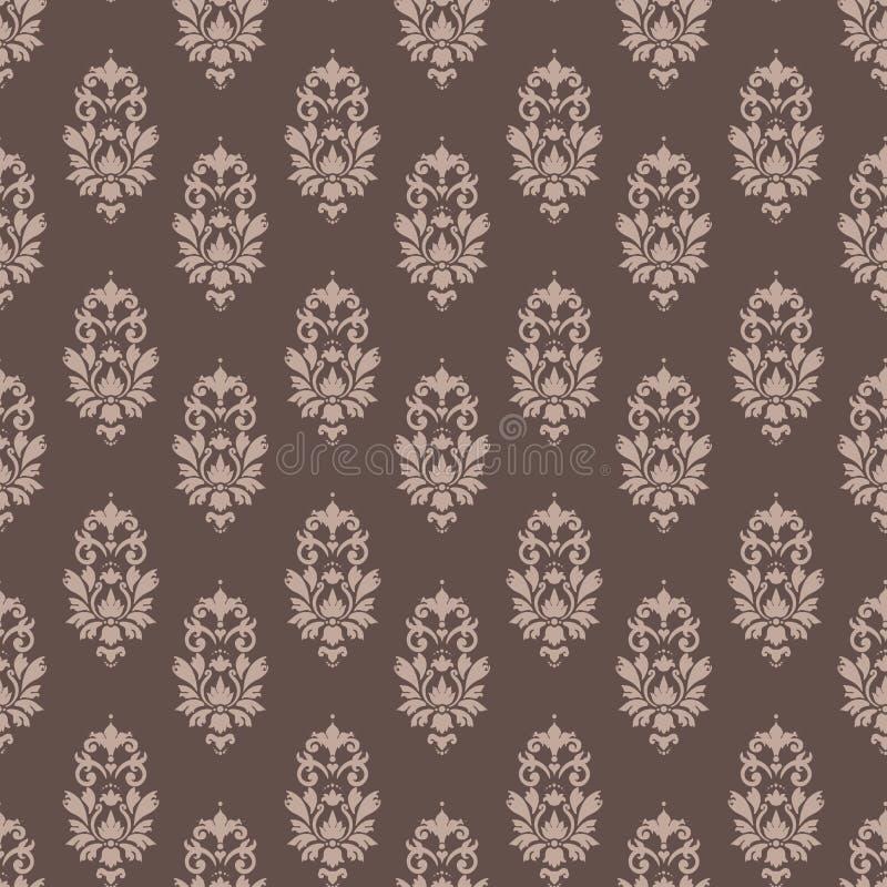 Café sem emenda e creme do damasco barroco do papel de parede do teste padrão ilustração stock