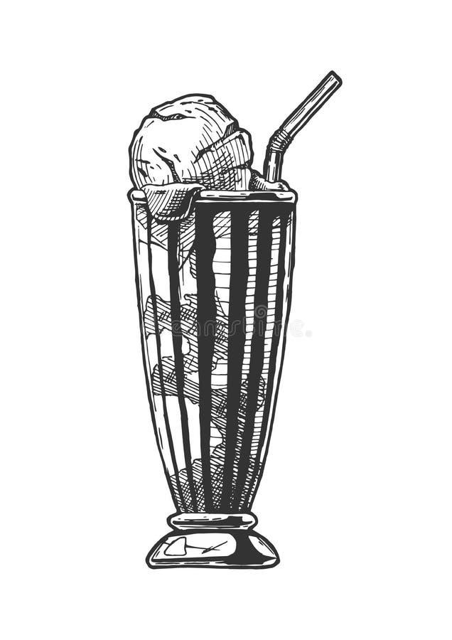 Café servi avec la crème glacée  illustration de vecteur