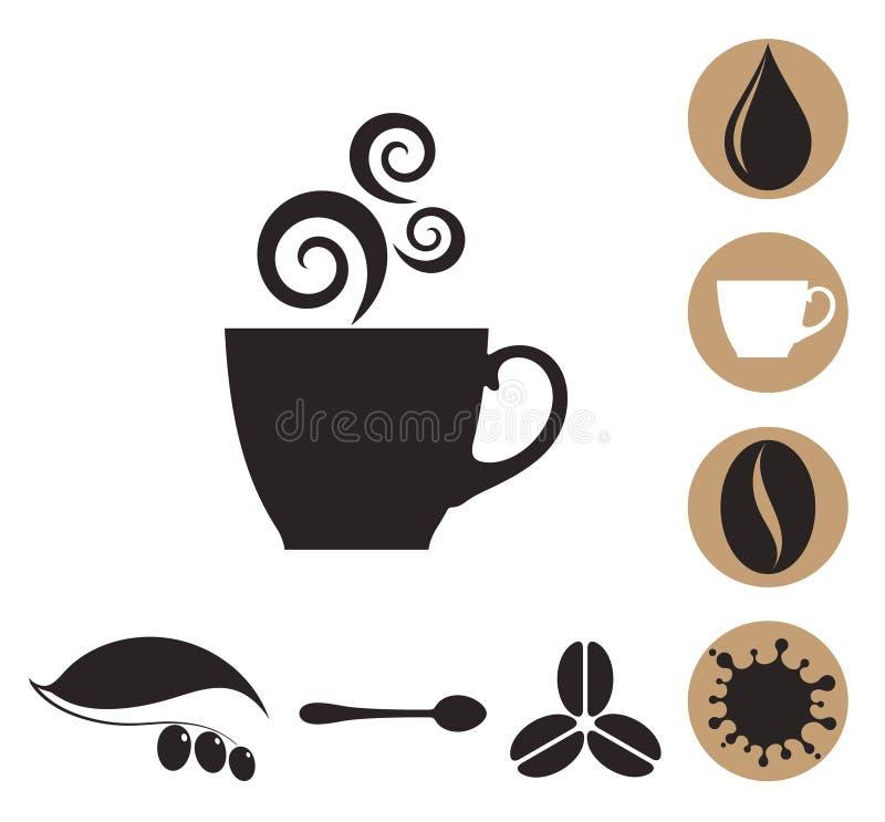 Café Sistema del icono stock de ilustración