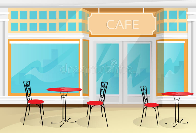 Café-Straßen-Kaffeestube sitzt Tabellen-Vektor vor lizenzfreie abbildung