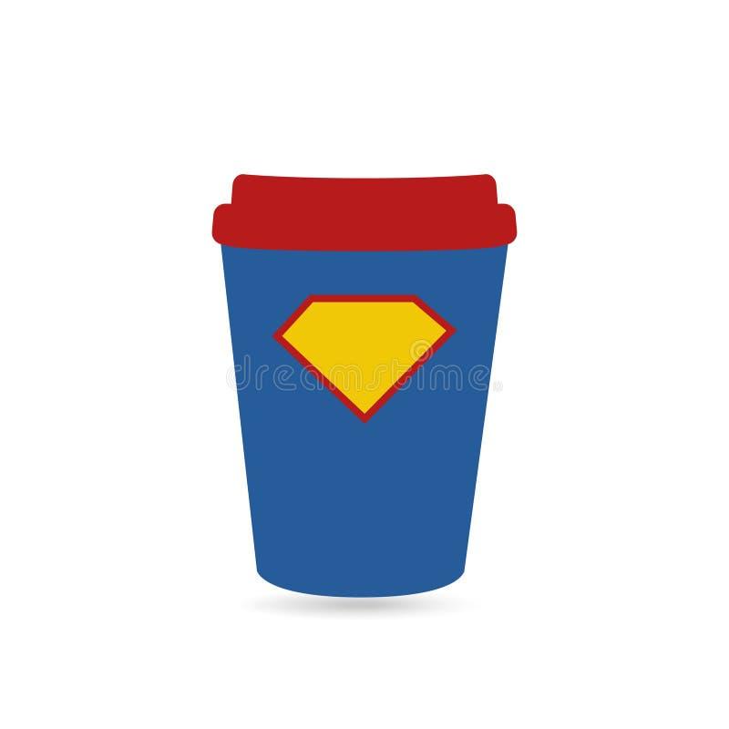 Café super para o copo do poder do super-herói ilustração royalty free