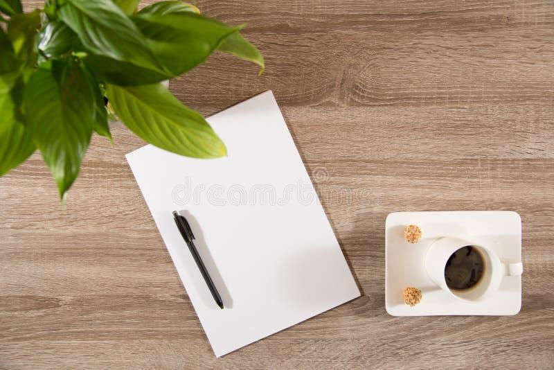 Café sur la table avec la plante verte, les grains de café et le blanc blanc p image libre de droits
