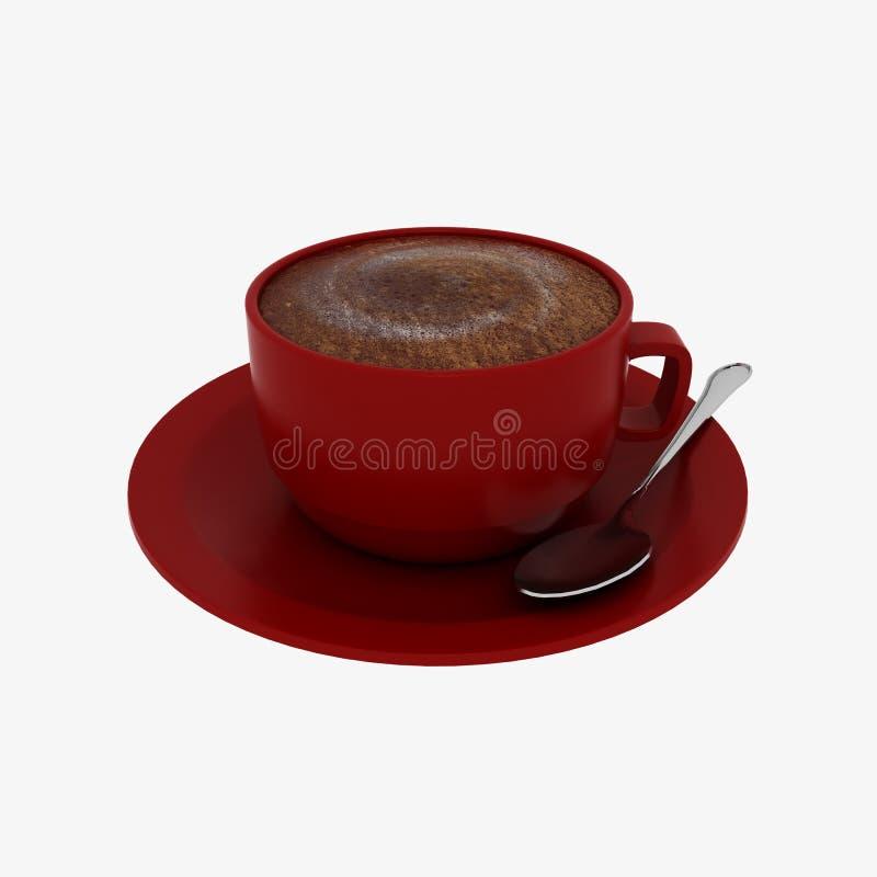 Café sur le fond rouge de blanc de tasse photo stock