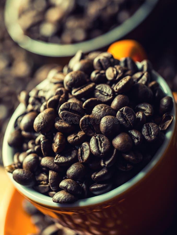 Café Taza de café por completo de los granos de café, amoladora de café en el fondo foto de archivo libre de regalías