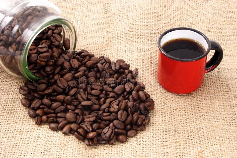 Café, taza y sizal imagen de archivo libre de regalías