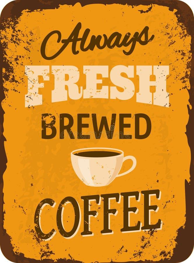 Café Tin Sign del vintage stock de ilustración