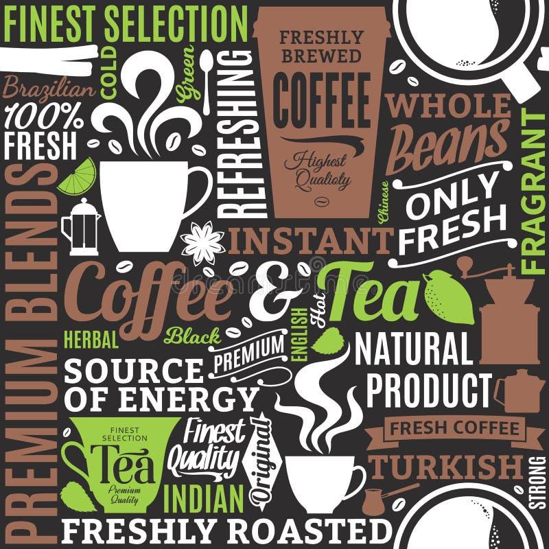 Café tipográfico del vector y modelo o fondo inconsútil del té ilustración del vector