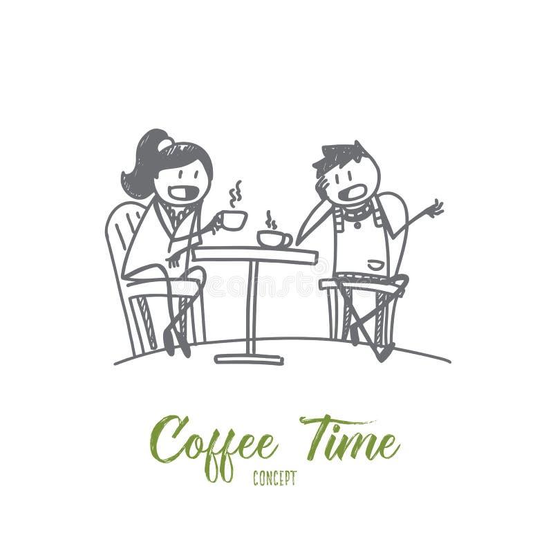 Café tirado mão da bebida dos amigos ilustração do vetor