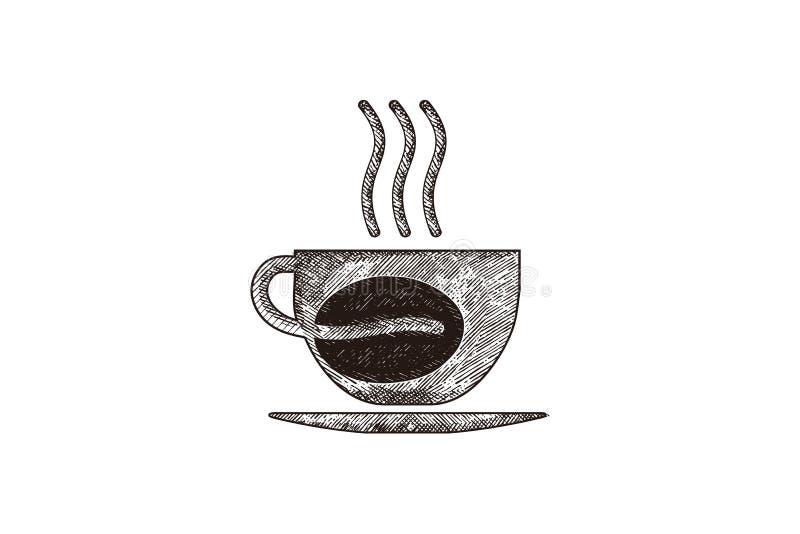 café tirado mão do vapor, caneca, vidro, feijão de café, inspiração dos projetos do logotipo da cafetaria isolado no fundo branco ilustração stock