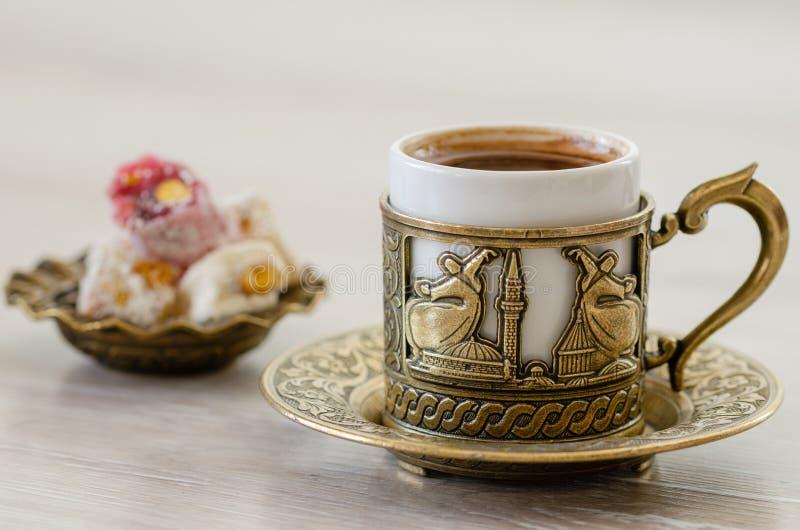 Café turco com loukoum fotos de stock royalty free