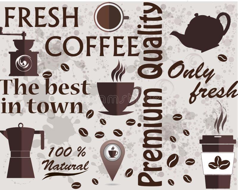 Café typographique de vecteur Tasses, haricots et icônes d'équipement de café pour le café, barre d'expresso, restaurant, café, e illustration libre de droits