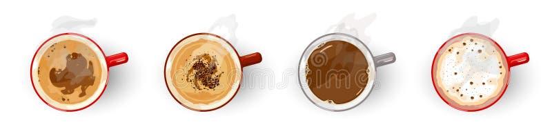 Café, variedad americano, cappuccino, espresso, latte, negro largo, macchiato, mochacino stock de ilustración