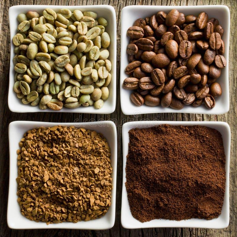 Café verde, roasted, à terra e instantâneo foto de stock royalty free