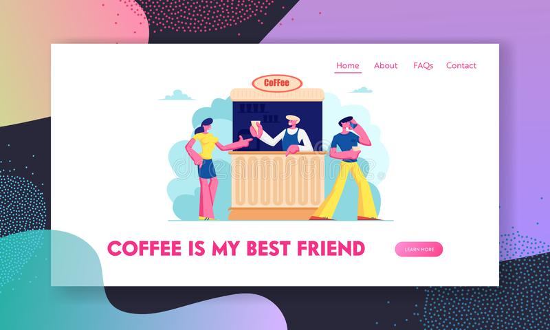 Café-Website-Landungs-Seite im Freien, junger Mann und Frauen-kaufender Kaffee im Stand auf Straße Sommer-Cafeteria im Freien mit vektor abbildung