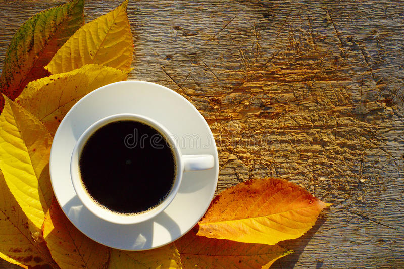 Café y Autumn Leaves On Wood foto de archivo