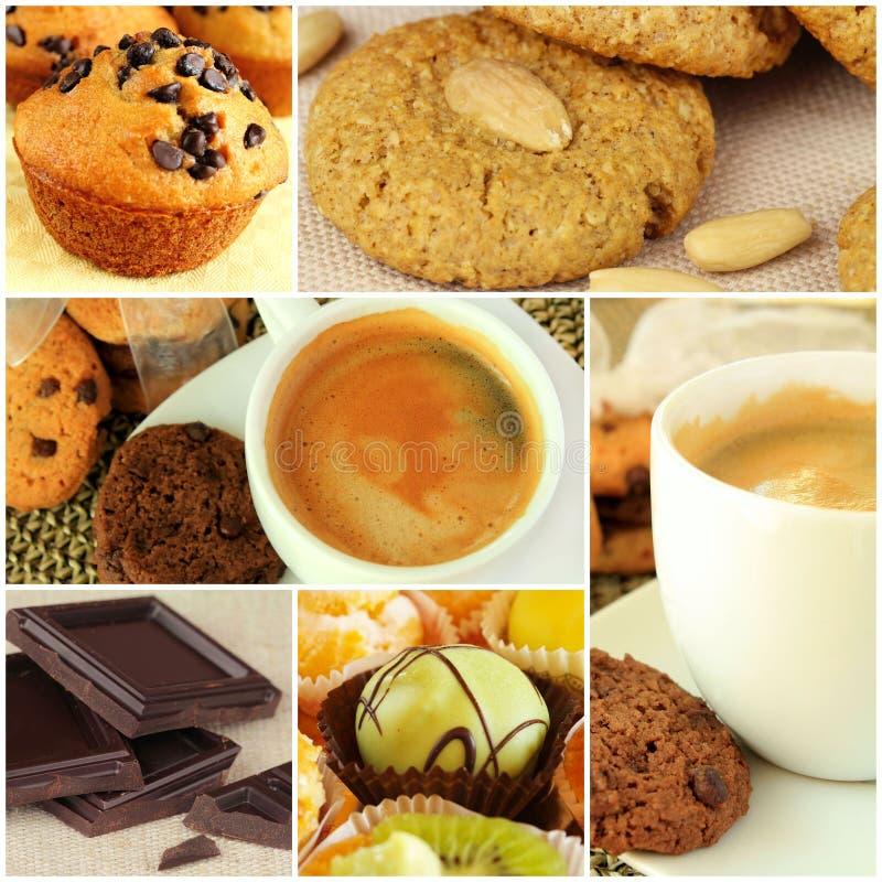 Café y collage de los dulces imagen de archivo libre de regalías