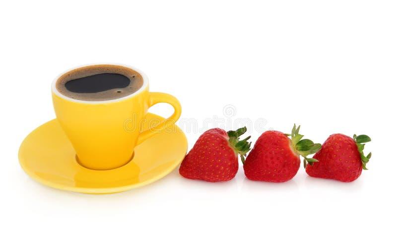 Café y fresas del café express fotos de archivo