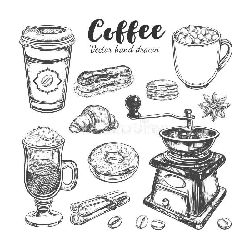 Café y café a ir sistema stock de ilustración