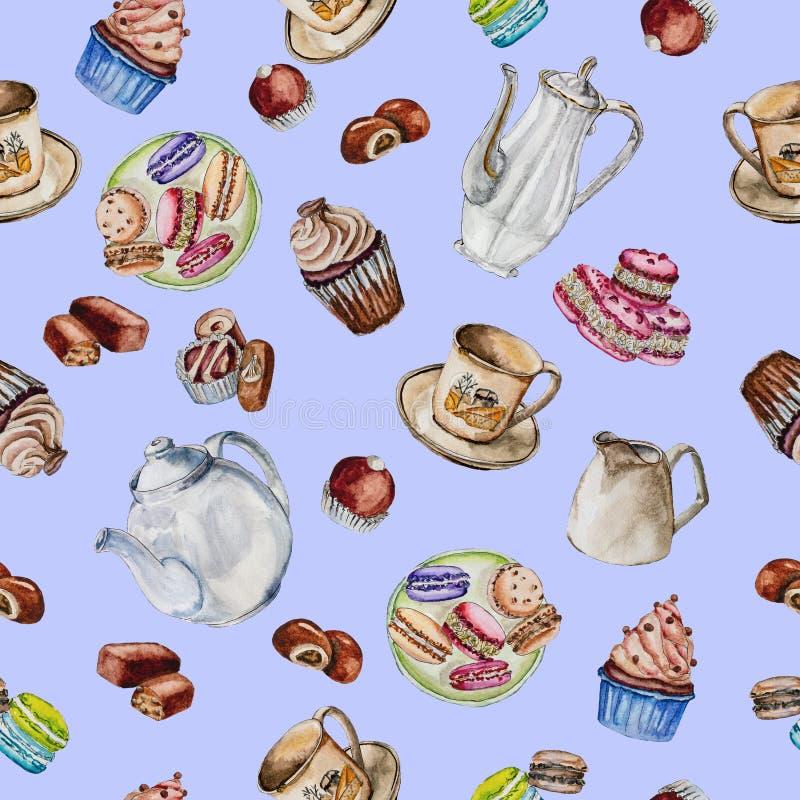 Café y juego de té con la caldera, las tazas y los dulces foto de archivo libre de regalías
