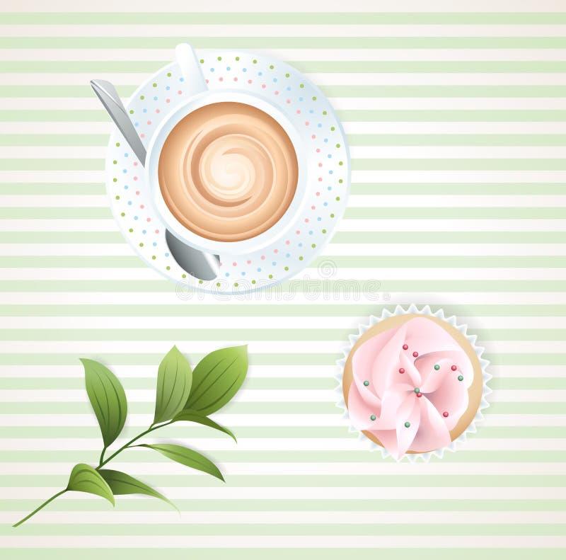 Café y magdalena stock de ilustración