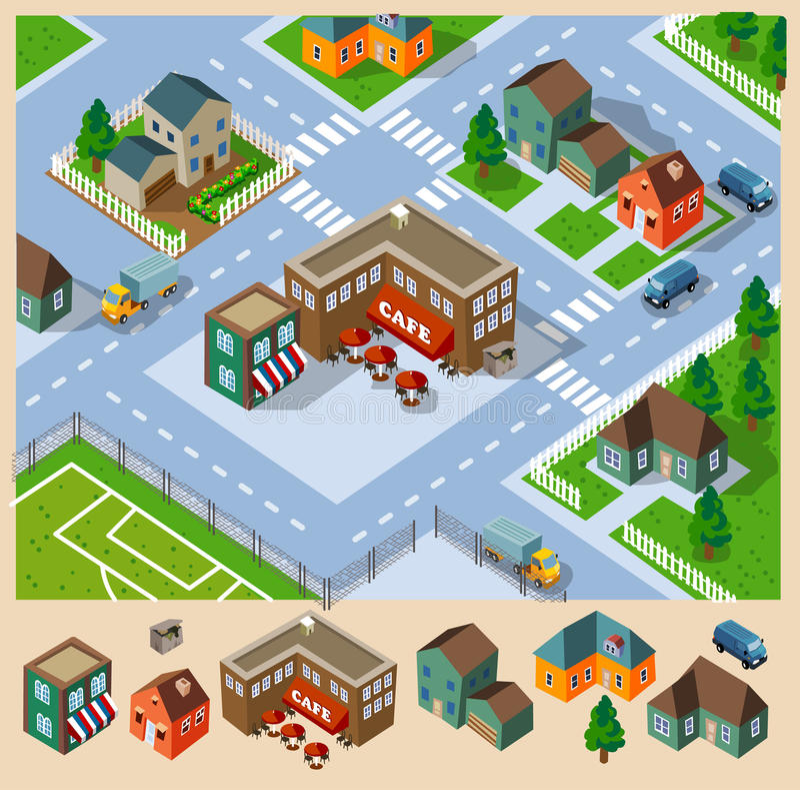 Café y vecindad isométricos libre illustration