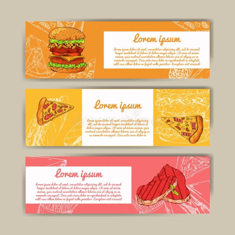 Caféfahnen mit Hand gezeichnetem Design Schnellrestaurantmenüschablone Kartenstapel für Unternehmensidentitä5 Auch im corel abgeh lizenzfreie abbildung