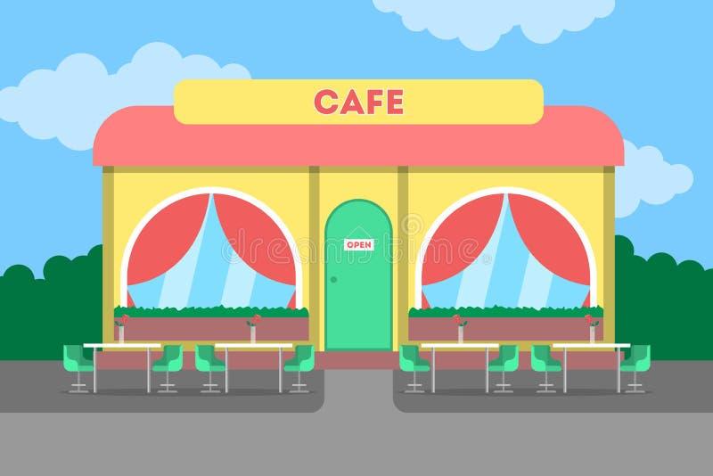 Cafégebäude in der Stadt Cafeteriaäußeres stock abbildung