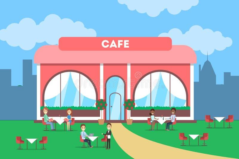 Cafégebäude in der Stadt Cafeteriaäußeres lizenzfreie abbildung