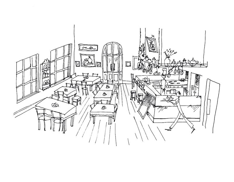 Caféhandgezogene lineare Illustration stock abbildung
