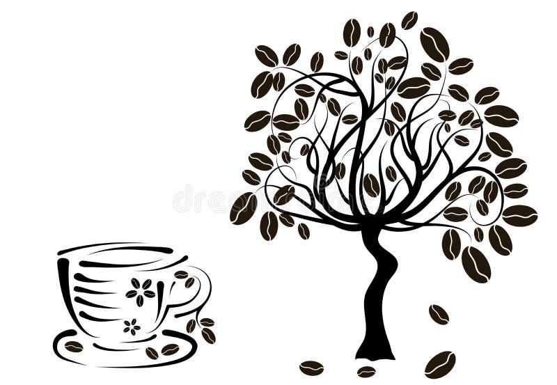 Caféier dans une cuvette,   illustration stock