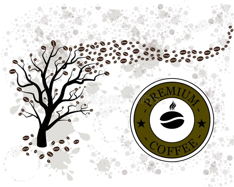 Caféier de vecteur avec des grains de café illustration stock