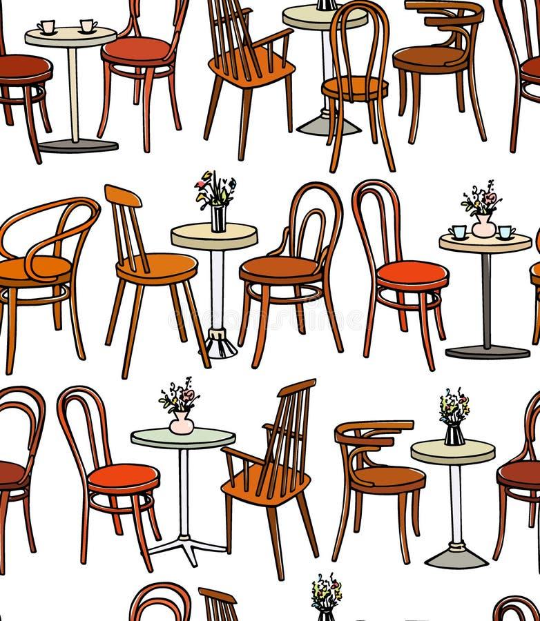 Cafémöbelmuster lizenzfreie abbildung