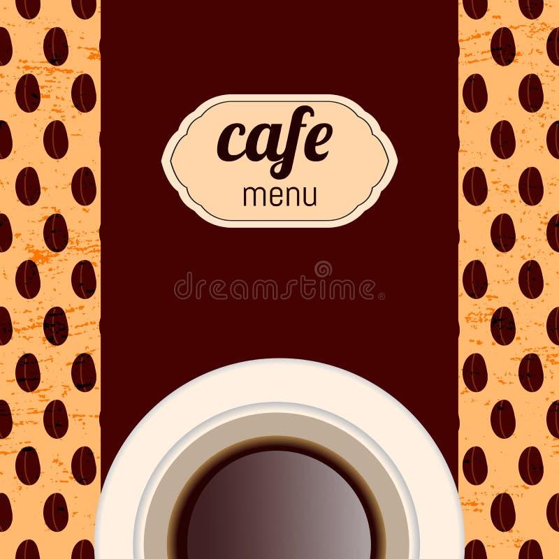Cafémenü, mit einer Schale in den braunen Farben vektor abbildung