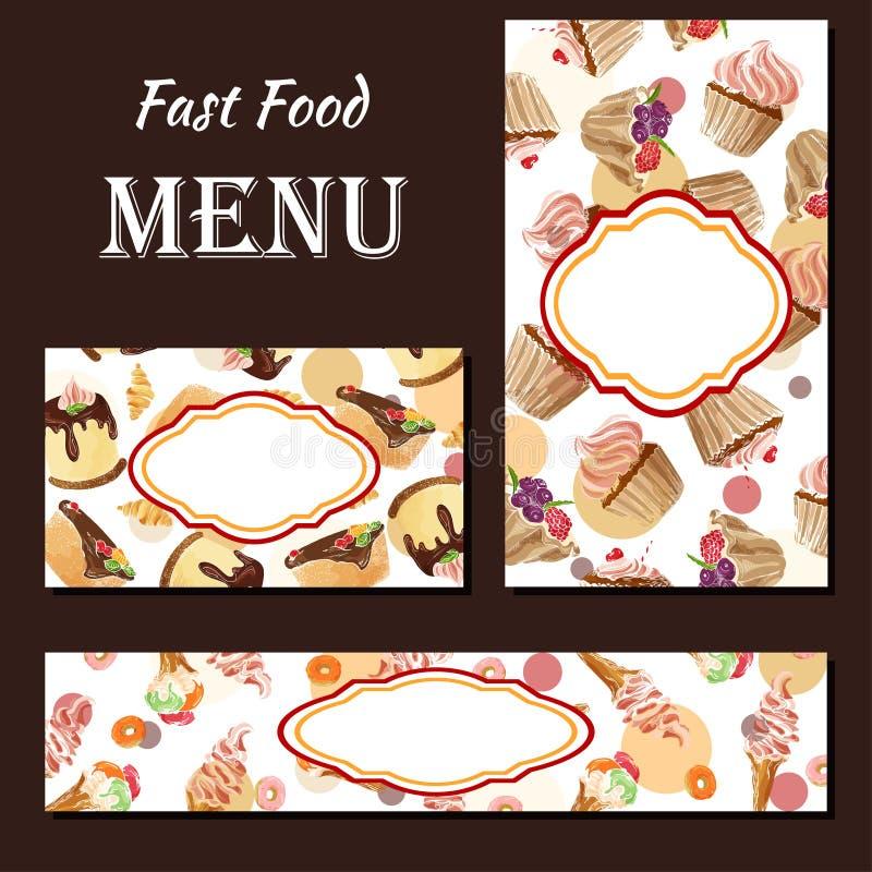 Cafémenü mit Hand gezeichnetem Design Nachtischrestaurant-Menüschablone Kartenstapel für Unternehmensidentitä5 Auch im corel abge stock abbildung