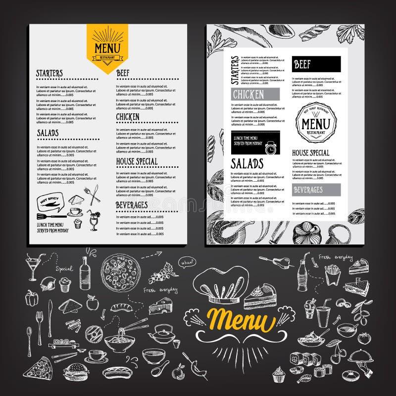 Cafémenü-Restaurantbroschüre Lebensmitteldesignschablone lizenzfreie abbildung